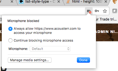 How to unblock microphone access for Acousterr