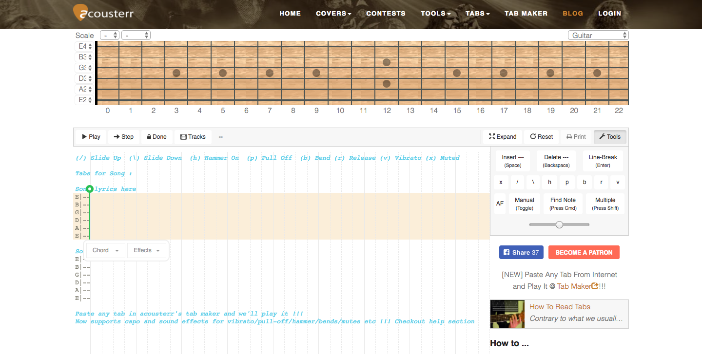 Create And Playback Guitar Tabs Bass Piano Ukulele Mandolin